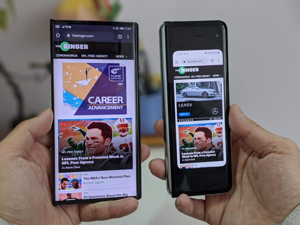 Google Chrome running on the Huawei Mate XS and the Samsung Galaxy Fold.