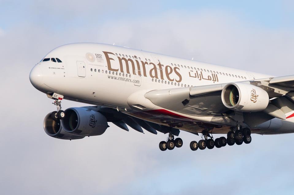 Emirates Airbus A380 Landing In Amsterdam. Emirates suspends all flights