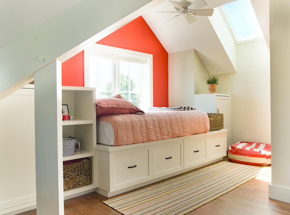 Storage was built in under this bed and in shelves and cabinets along side it.