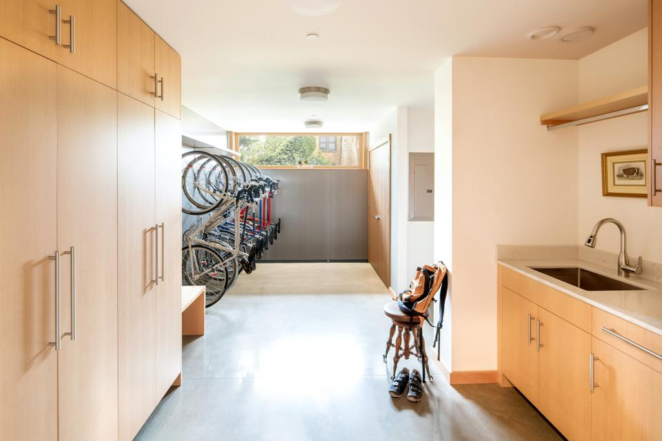 Lots of bicycle storage (for avid bicyclists), as well as cabinets were created in this 1462 sq ft house in Olympia, WA. The house was designed by the Artisans Group.