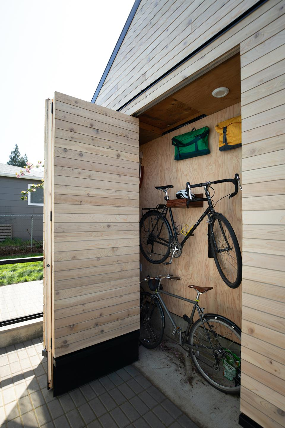 Storage was created on the exterior of the small 624 square foot ADU.
