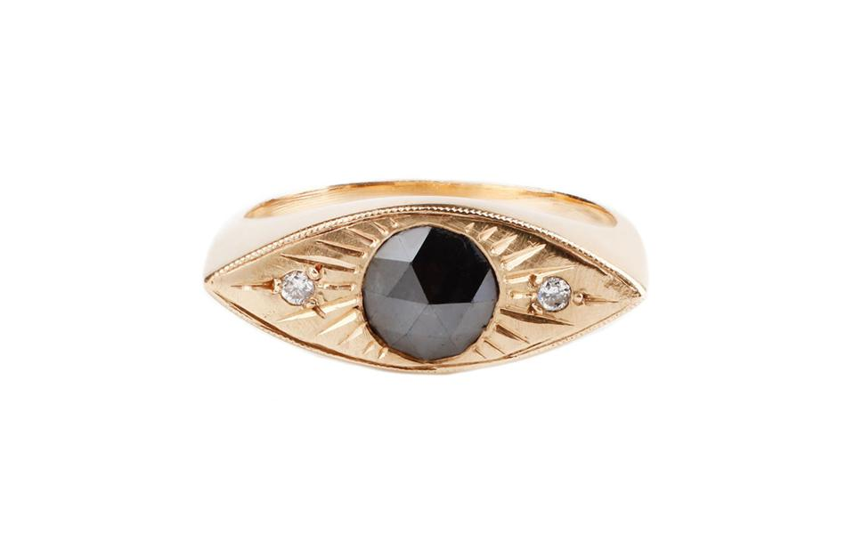 Gold, ring, jewelry, gray diamond