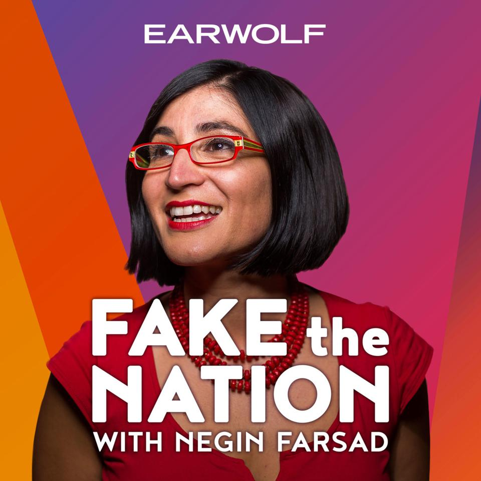 The logo for Fake the Nation with Negin Farsad