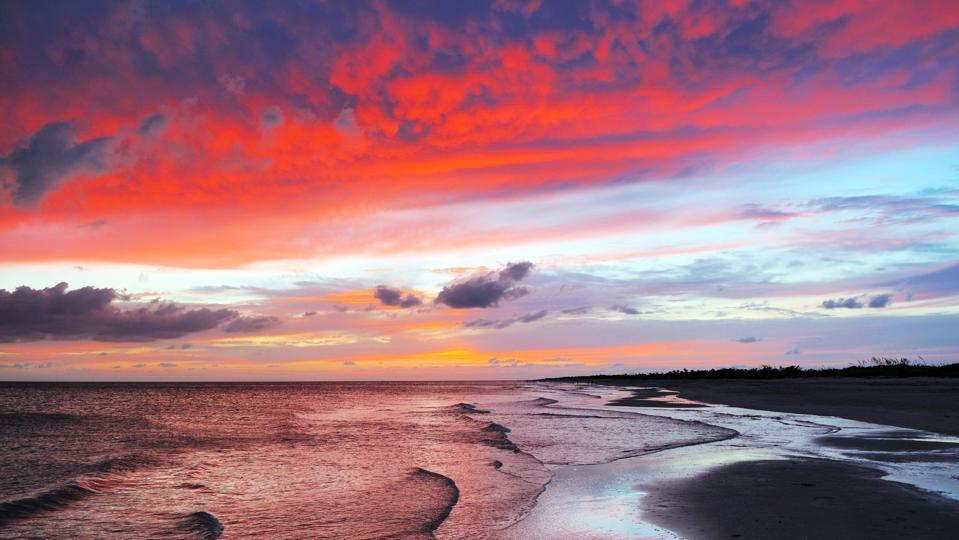 Dramatic Colorful Sunset Sky at Bowman Beach Sanibel Island Florida
