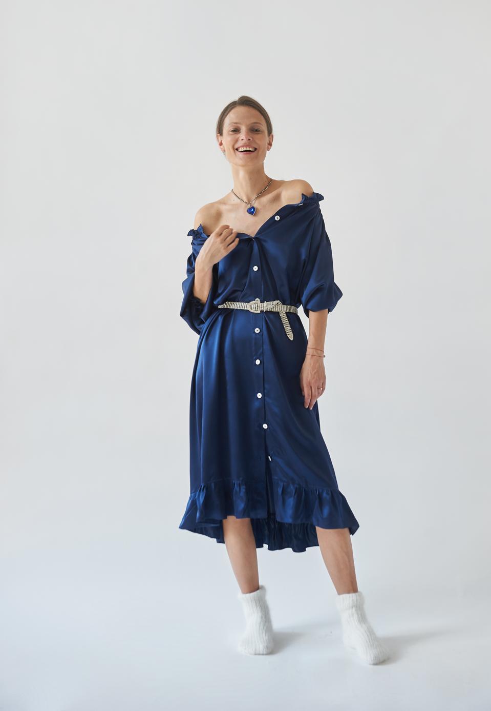 SLEEPER Curacao Blue Silk Loungewear Dress