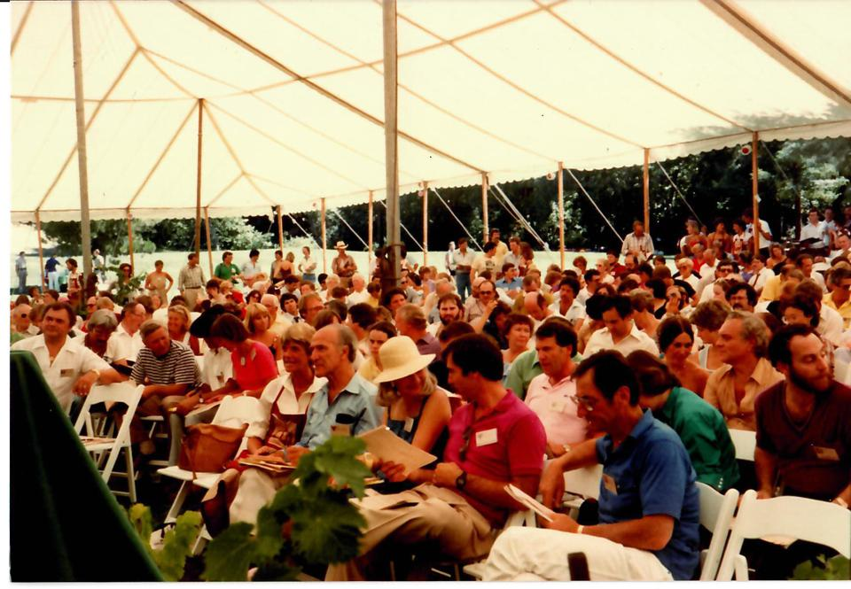 Robin Lail, 5th from right in front row, next to Robert Mondavi at First Auction Napa Valley in 1981
