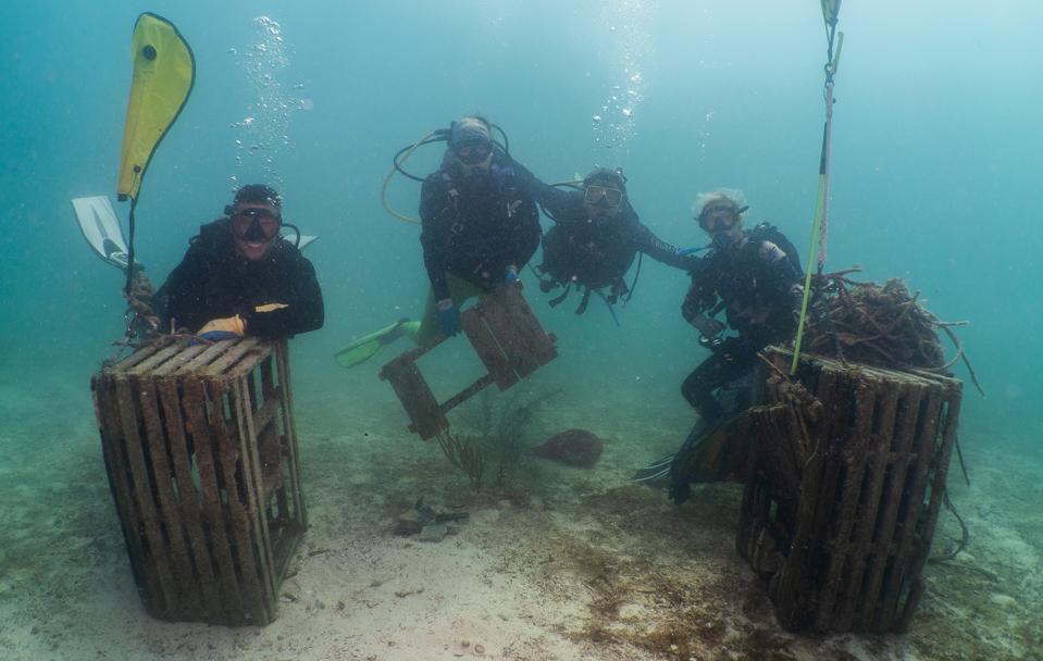 divers, ocean, boxes, cleanup