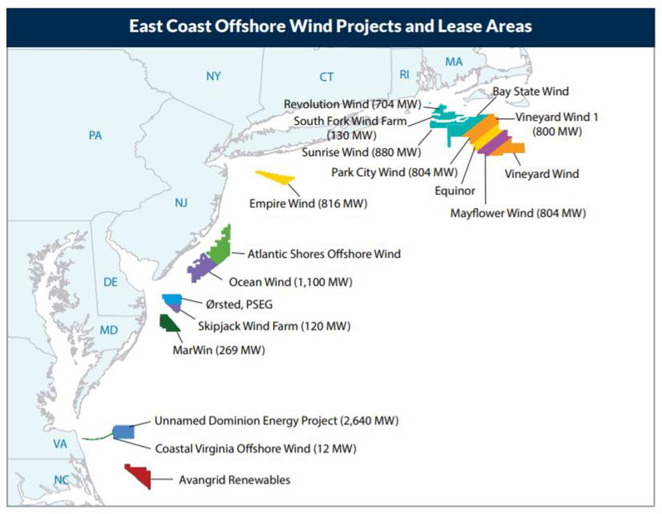 East Coast offshore wind projects and lease areas