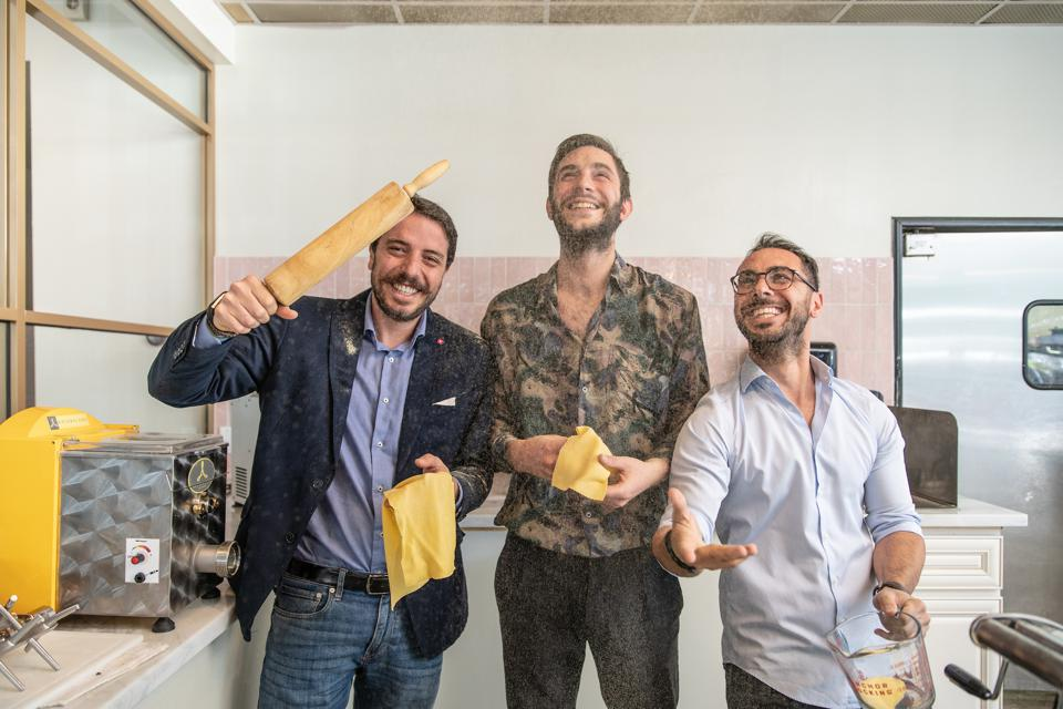 Owners Giuseppe Capasso, Niccolo Angius and Giuseppe Scognamiglio were quite jovial when Cesarina, their San Diego restaurant, opened last year. They say they will give all profits from takeout meals to employees during the coronavirus crisis.