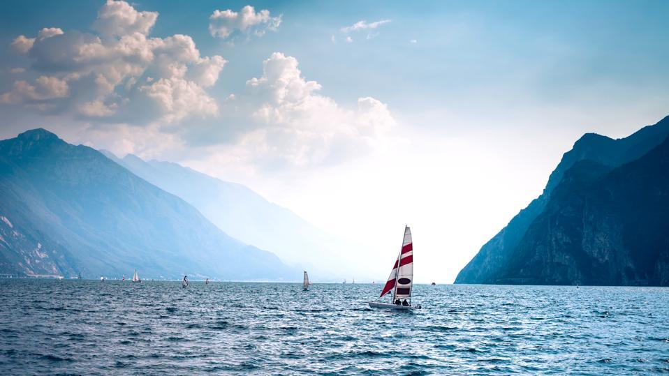 Yachts on beautiful Garda lake, Italy