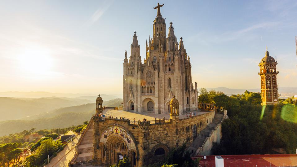 Sagrat Cor Temple at Tibidabo Mountain during sunset, Barcelona, Catalonia, Spain