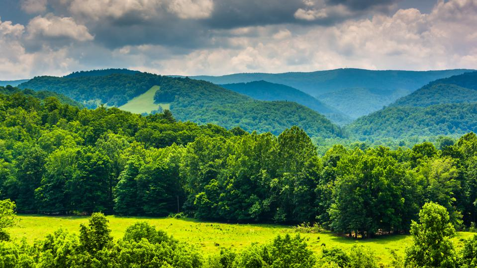 View of mountains in the Potomac Highlands of West Virginia