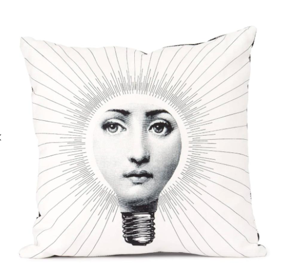 FORNASETTI Abbaglio Pillows are whimsical pieces that inspire bright ideas.