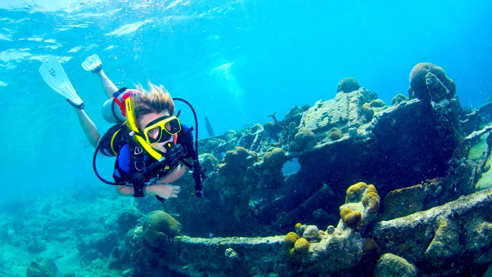 The author underwater in Curacao