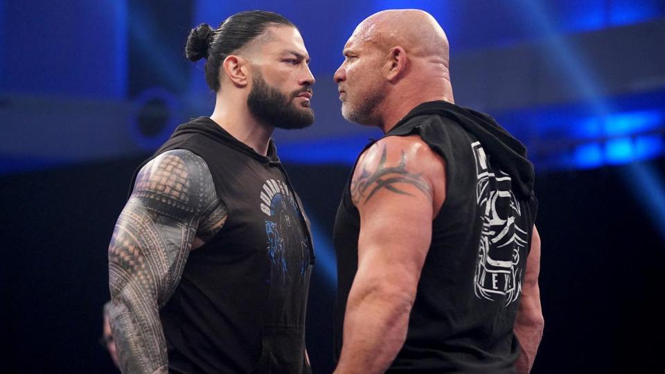 WWE SmackDown: Roman Reigns stares down Goldberg