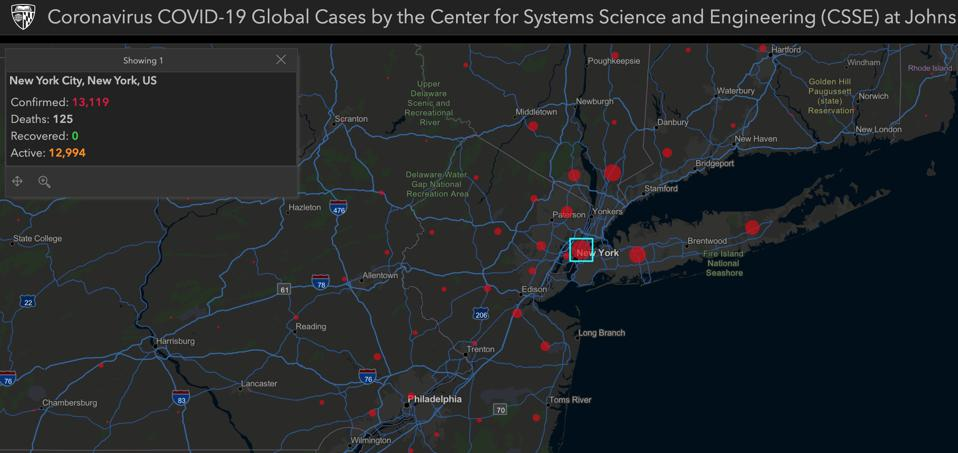 Map showing the number of coronavirus cases in New York and the infobox when clicked.