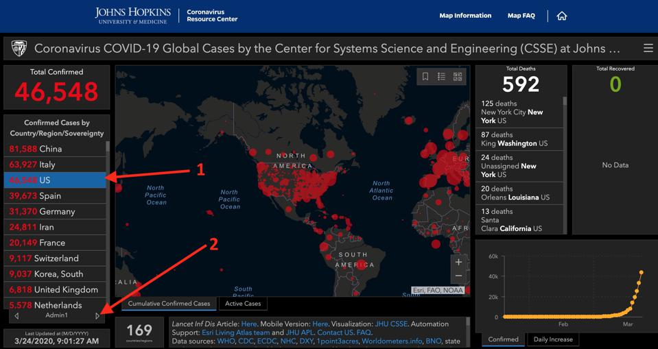 How to view the state map and statistics for coronavirus.