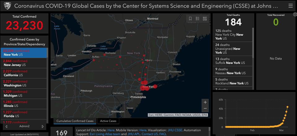 New York state view on the Johns Hopkins dashboard.