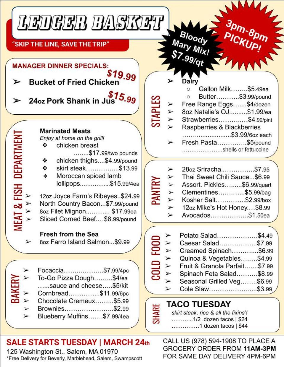 Ledger takeout restaurant menu