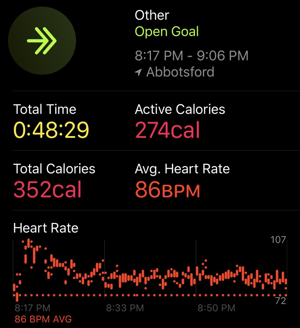 A screenshot from Apple's Activity app of my Beat Saber workout
