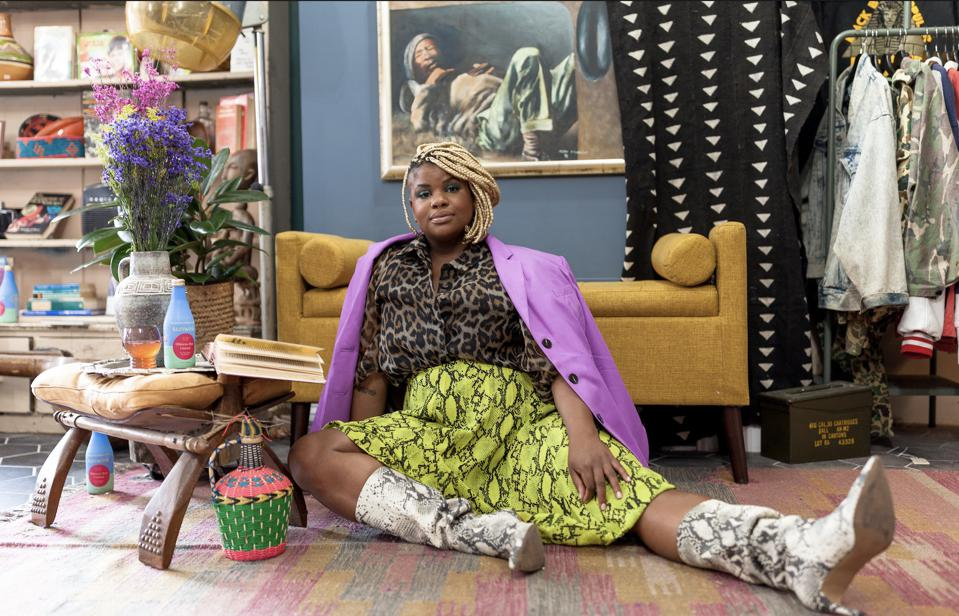 Ericka Hart, acclaimed sexuality educator, in a photo promoting her collaboration with sparkling herbal tonic brand, Sunwink, a partnership which in part benefits the Marsha P. Johnson Institute, an organization that protects the rights of Black transgender women