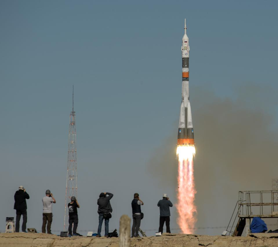 Soyuz MS-10 lifts off from Baikonur