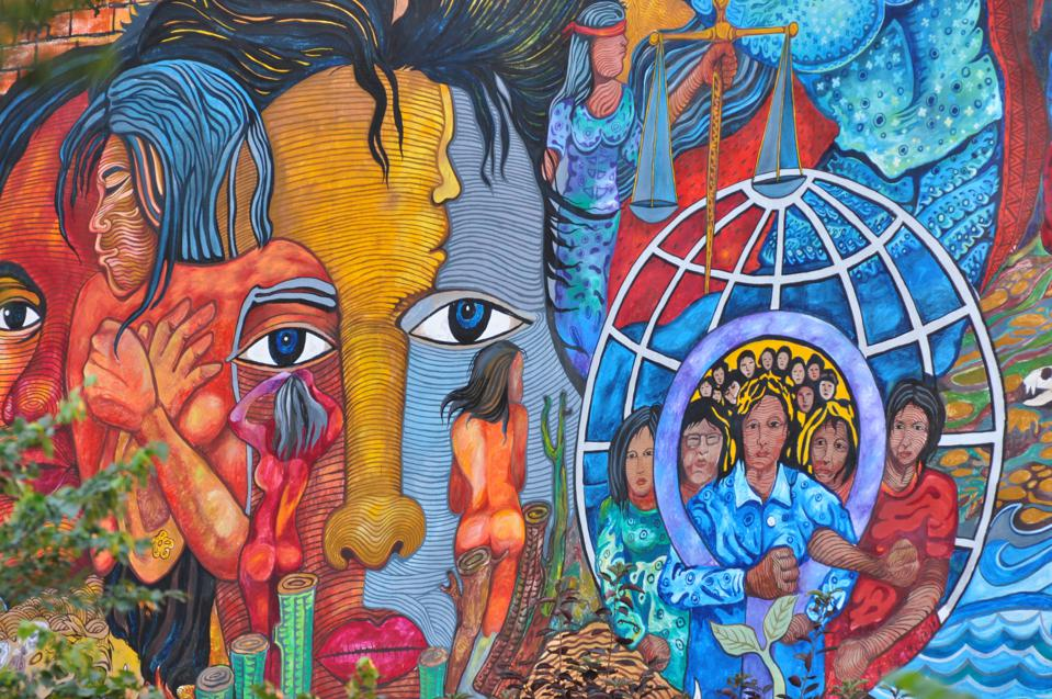 Mural entitled ″Women for Peace and Environment″ by artist Bert Monterona
