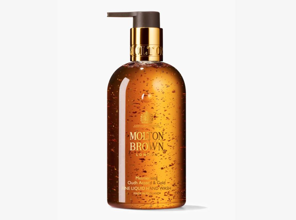 Molton Brown Mesmerising Oudh Accord & Gold Liquid Hand Wash is, literally, liquid gold. And when you buy it from Olivela, you're also helping kids in need during the coronavirus crisis.