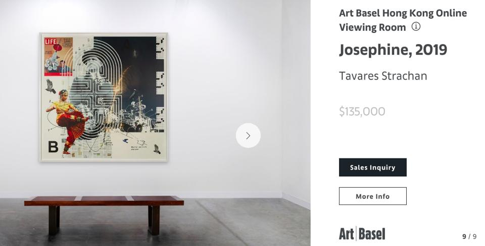 A screen shot of Josephine by Tavares Strachan at Art Basel Online Viewing Rooms.