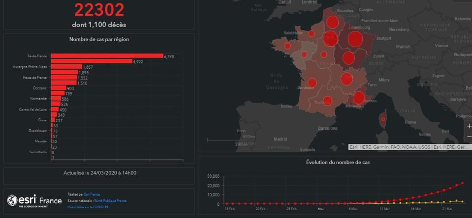 covid coronavirus map of cases in france epidemic lockdown measures