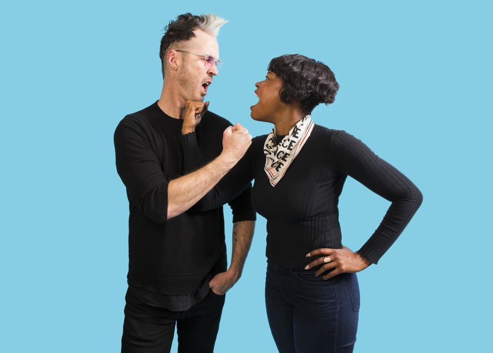 Michael Fitzpatrick and Noelle Scaggs of Fitz and the Tantrums pose backstage at the Riviera Theatre. Friday, February 28, 2020 in Chicago, IL (Photo by Barry Brecheisen)