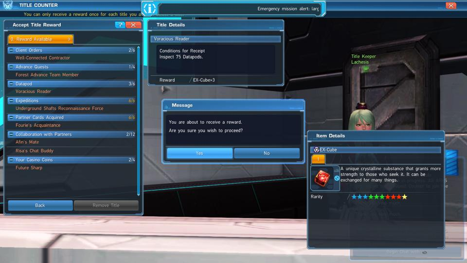 PSO2 regularly rewards you just for playing. Collect titles early and often!