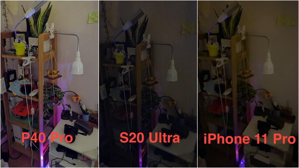 Three images taken in pitch black conditions by the Huawei P40 Pro, Samsung Galaxy S20 Ultra, and the iPhone 11 Pro.
