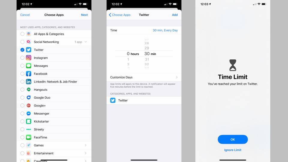 Setting app limits