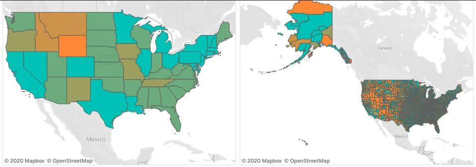 States ore regions in green are driving or commuting less now; states in orange are staying basically the same.