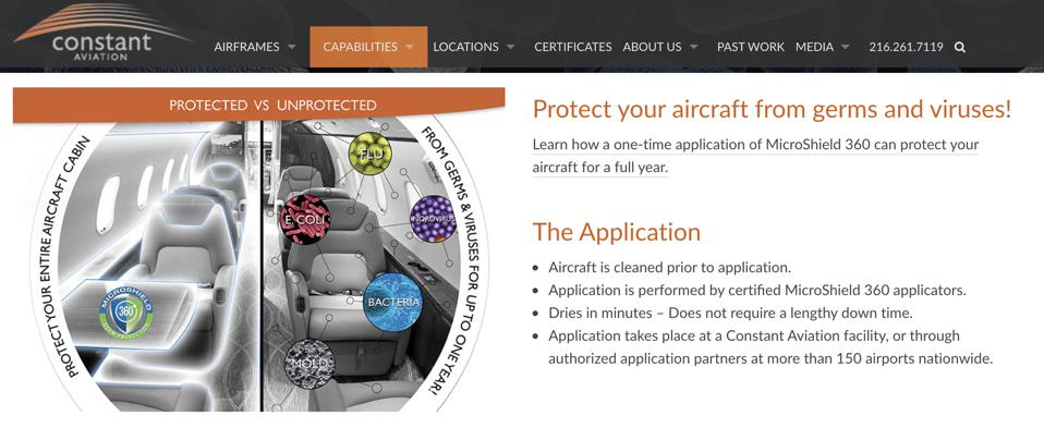 Constant Aviation coronavirus private jet protection