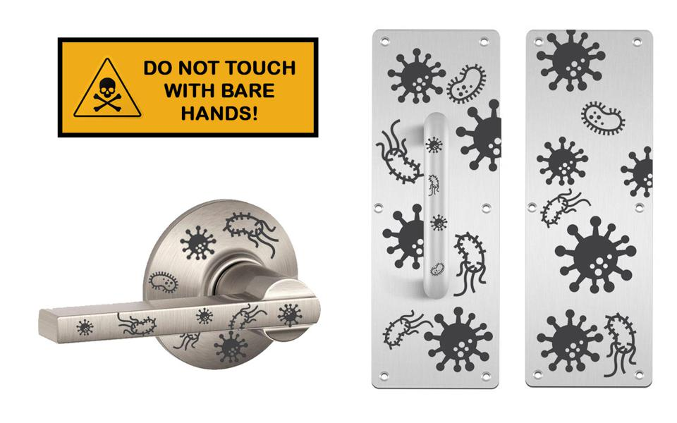 germ stickers on door handles