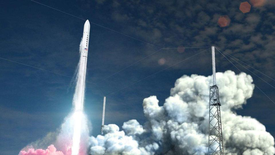 Rocket takes off amid smoke and fire