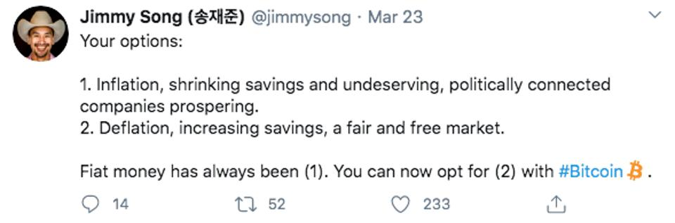 Jimmy Song, a blockchain programming instructor, and lecturer at the University of Texas said on Twitter