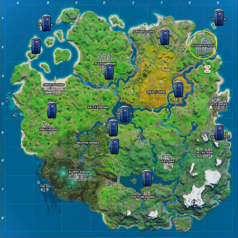 Fortnite Secret Passage Locations Where To Ride The Steamy Stacks A Zipline And Use A Secret Passage