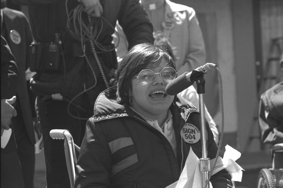 Judy Heumann at a rally for Section 504 of the Rehabilitation Act in the early 1970s