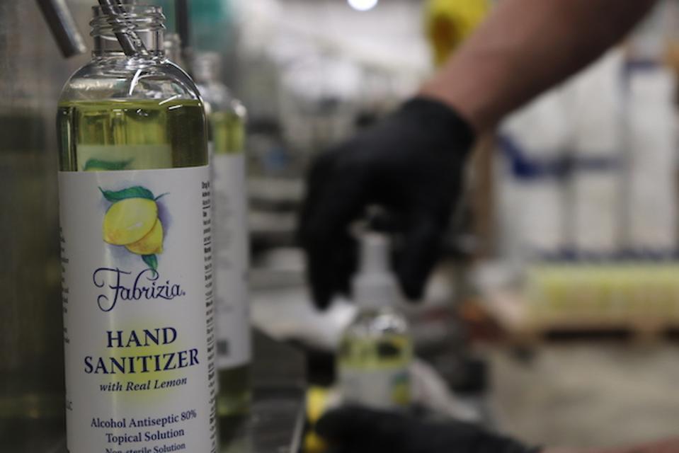 hand sanitizer limoncello distilleries