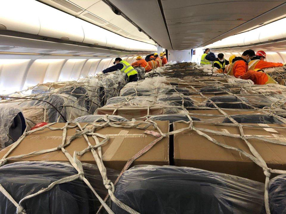 A Lufthansa Airbus 330 flew medical goods from Shanghai to Germany