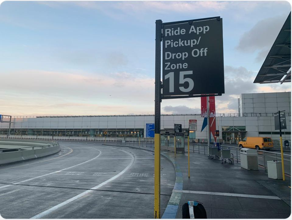 SFO airport pick-up drop off ridehail zone