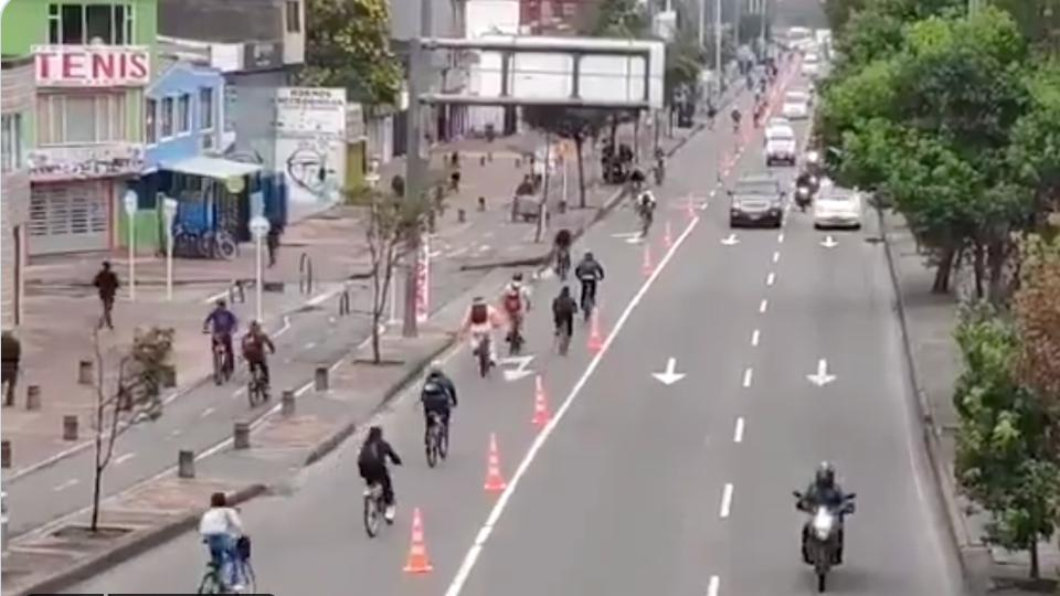 Temporary bicycle lanes in Bogota,  Colombia