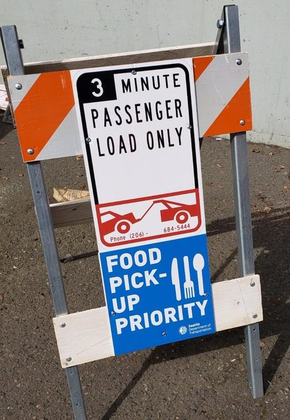 New Food Priority Pick-up and Drop-Off signs