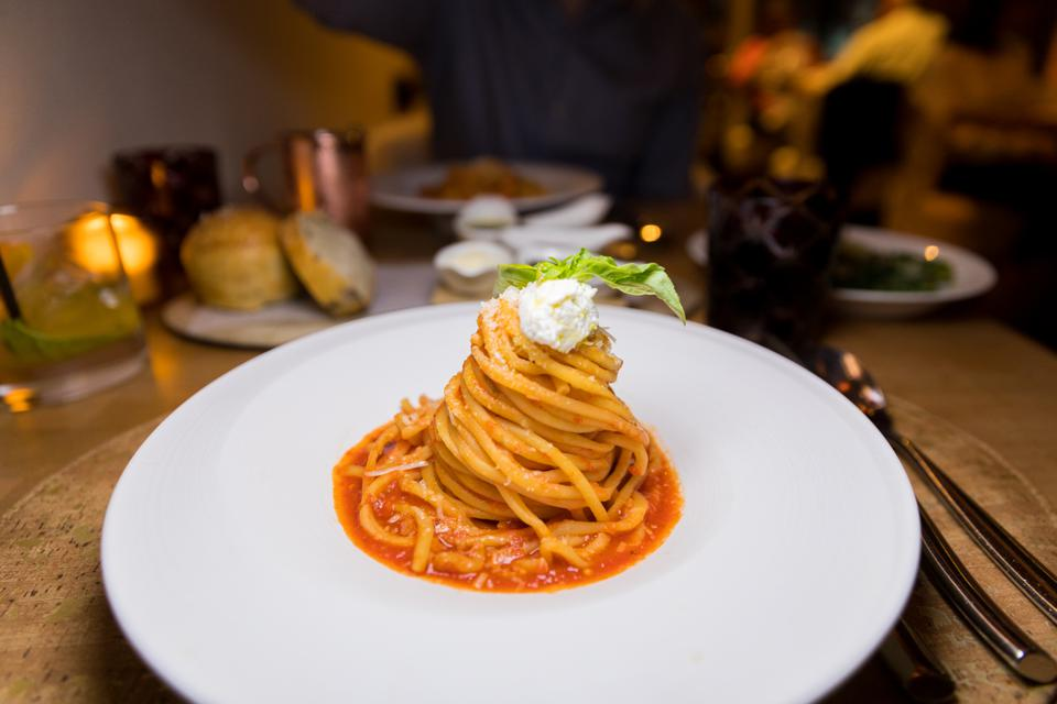 The Bucatini pasta with calabrian chili pomodoro & fresh ricotta at Giada at the Cromwell