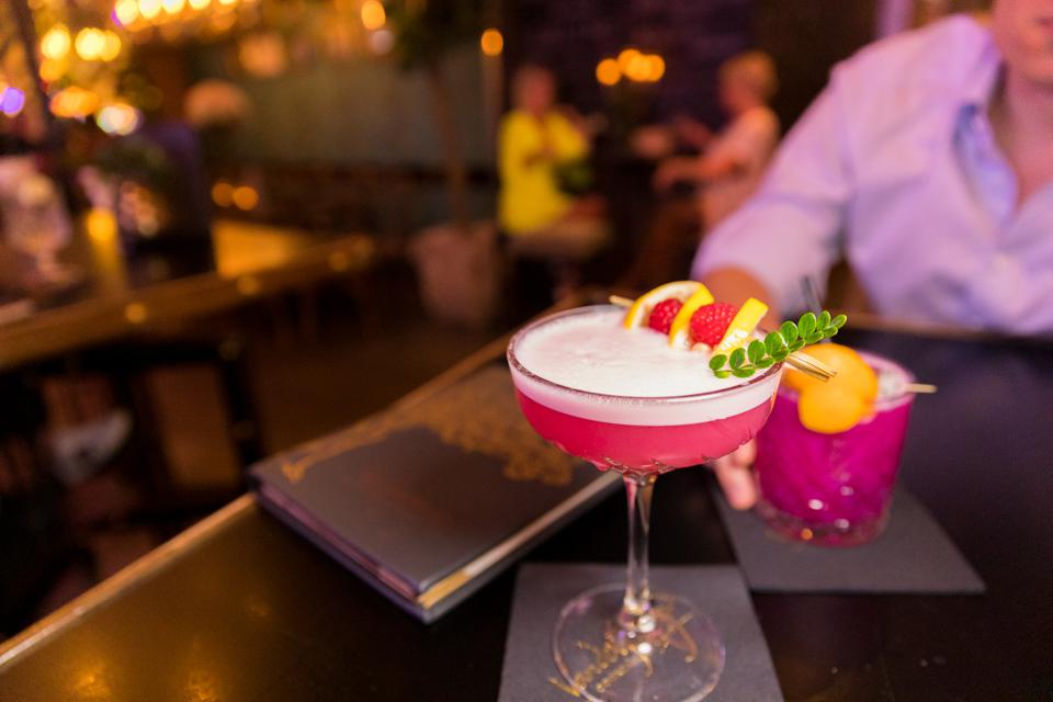 A signature cocktail at the Vanderpump Cocktail Garden