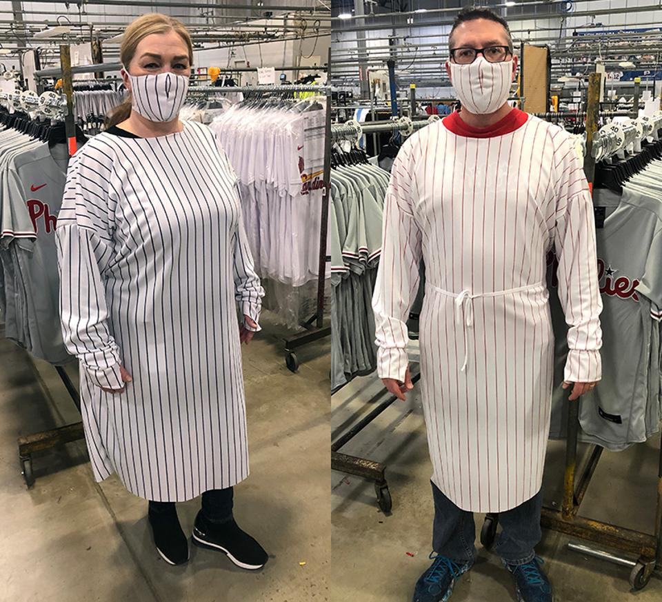 MLB medical gowns and masks