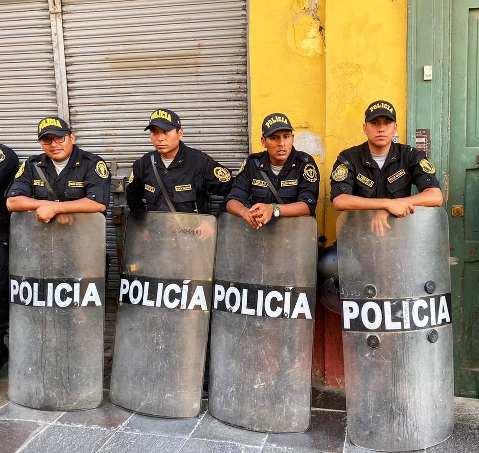 Heavy Police Presence in Lima, Perù